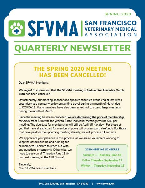 SFVMA Newsletter — Spring 2020